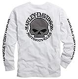 Harley Davidson® Men's Skull Long Sleeve Tee, White - 99092-14VM (XL)