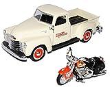 Chevrolet 3100 Pick-Up Beige 1950 1/25 Plus HarIey Davdson FLSTS...