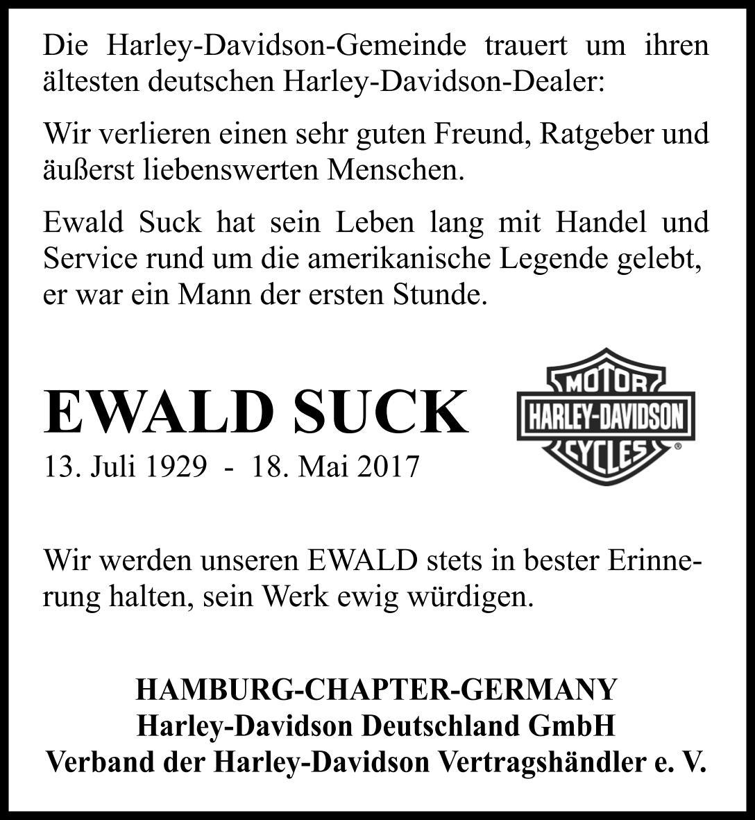 Ewald Suck -  Der erste und älteste Harley-Davidson Vertragshändler ist verstorben.