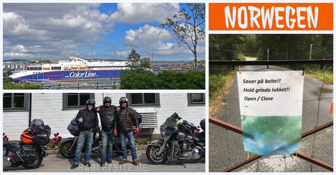 Collage mit Bildern vom Start der Norwegen Tour