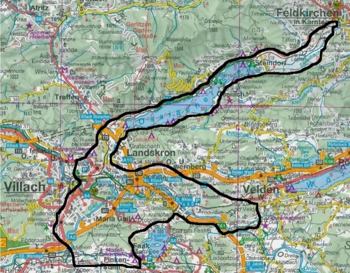 Zeigt Route der Harley Parade am Faaker See 2019