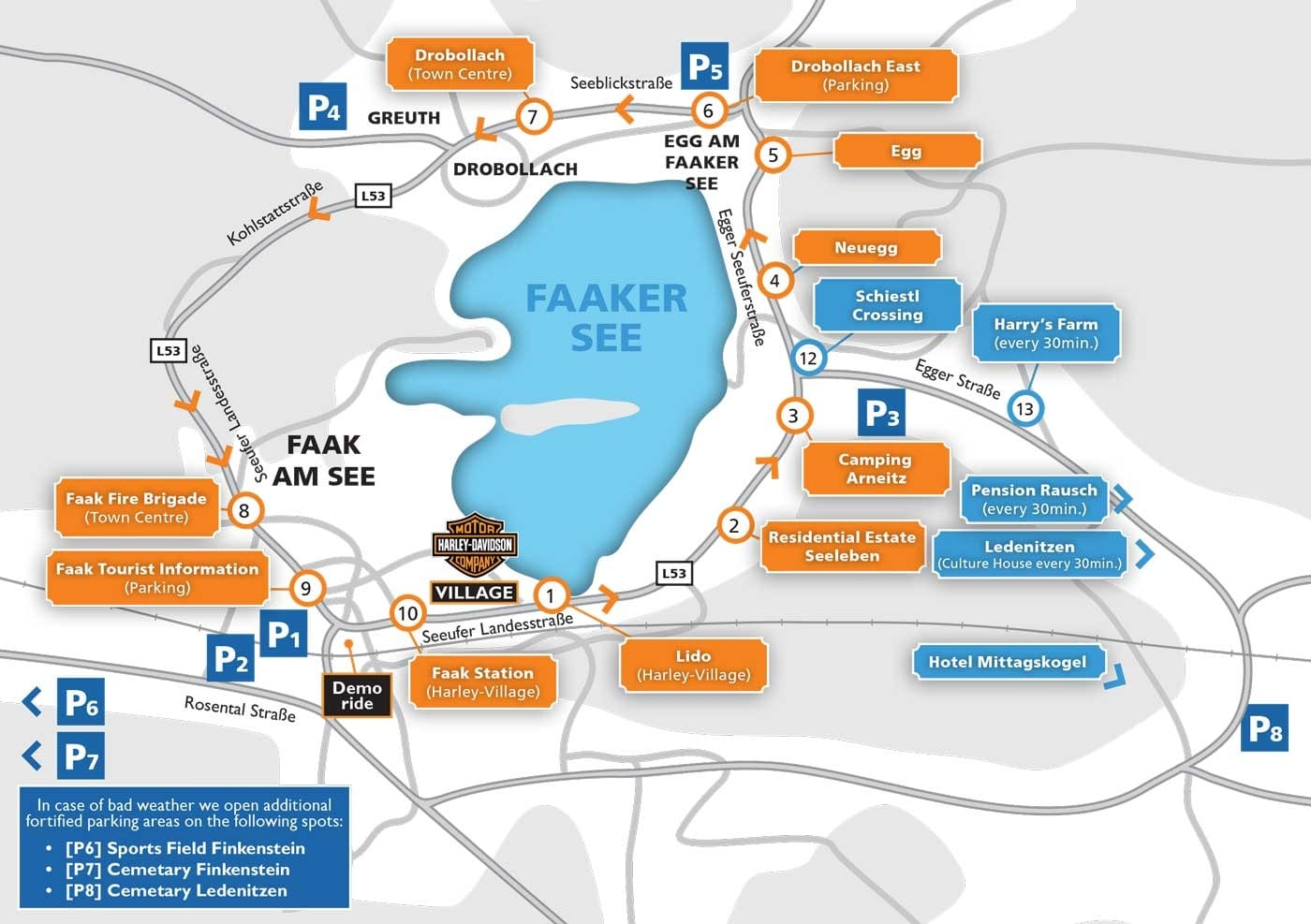 Übersichtsplan Parkplätze und Shuttlebus zur European Bike Week