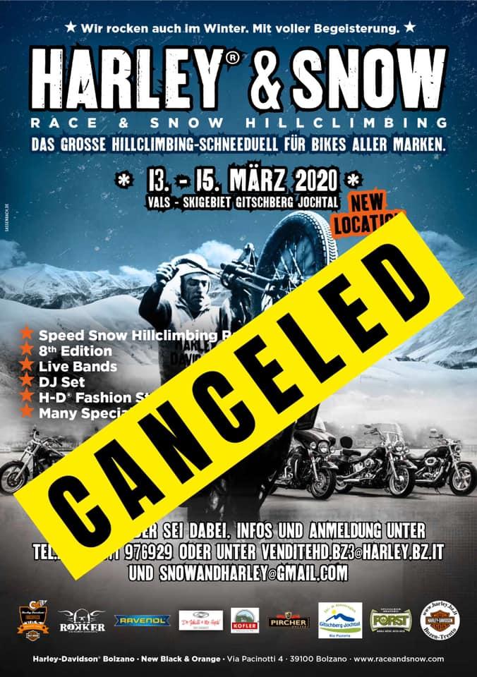 CORNONA VIRUS – Harley and Snow 2020 wegen Corona Virus abgesagt!