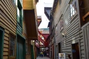 Zeigt das Hanseviertel in Bergen Norwegen