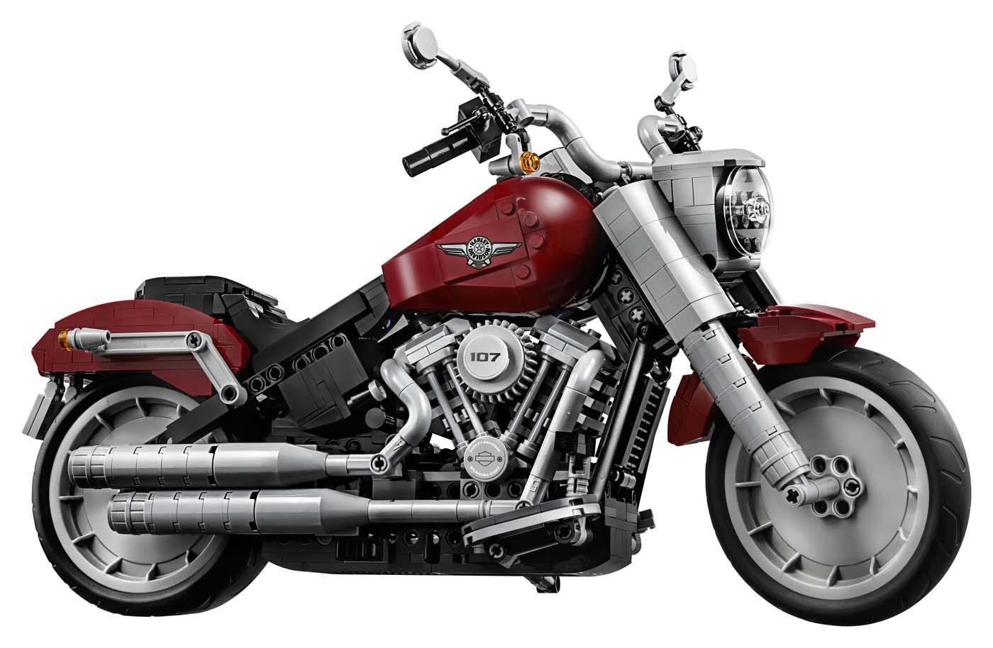 Zeigt die Harley-Davidson Fat Boy als Lego Bausatz.