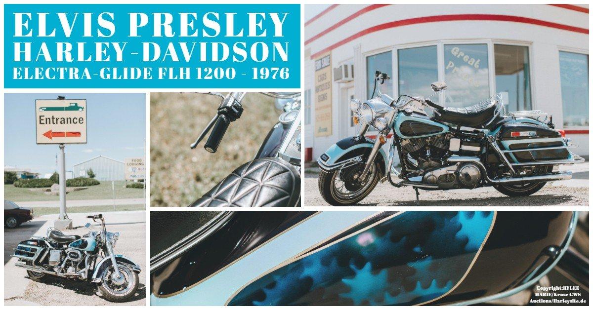 Zeigt eine Collage von Elvis Presley seiner privaten Harley-Davidson Electra-Glide FLH 1200