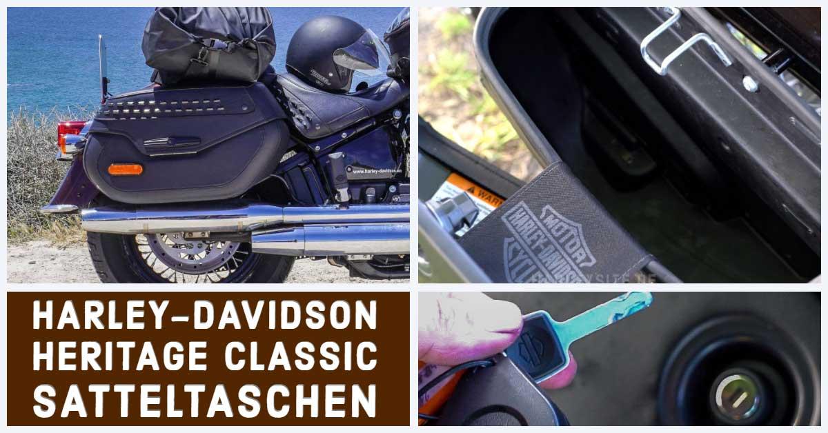 Zeigt die Harley-Davidson Heritage Classic 114 Satteltaschen