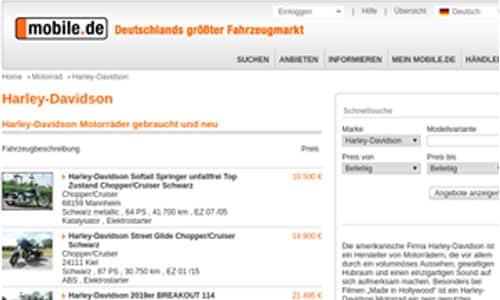 Bild zeigt ein Vorschaubild für gebrauchte Harley-Davidson Motorräder bei mobil.de