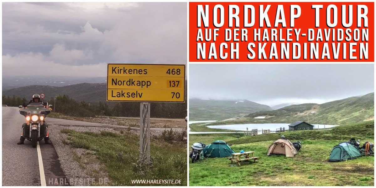 Zeigt eine Harley Davidson am Nordkap in Norwegen
