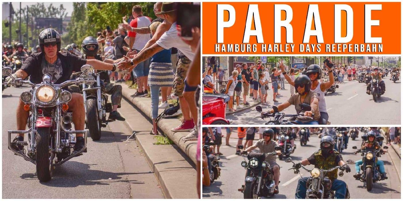 Collage zur Hamburg Harley Days Parade auf der Reeperbahn