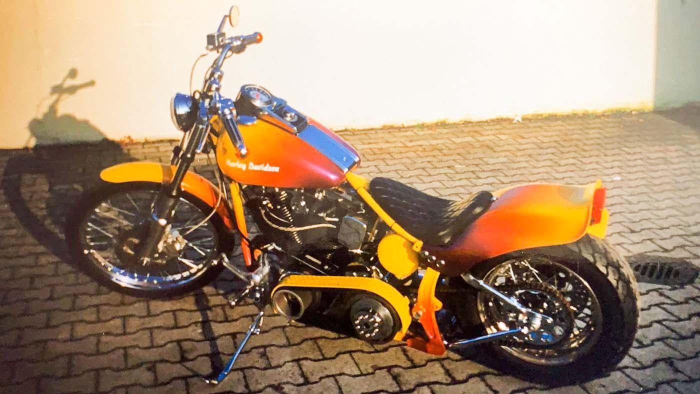 Rick´s Custombike vor 25 Jahren, mut zur Farbe.