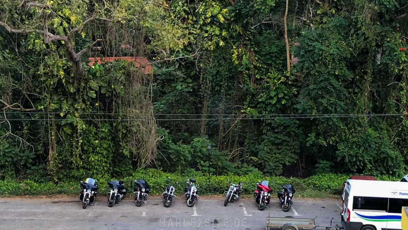 Wir parken unsere Harleys vorm Dschungel in San Vicente - Vinales