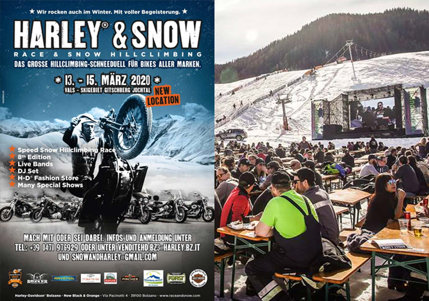 Plakat Harley and Snow 2020 in Südtirol