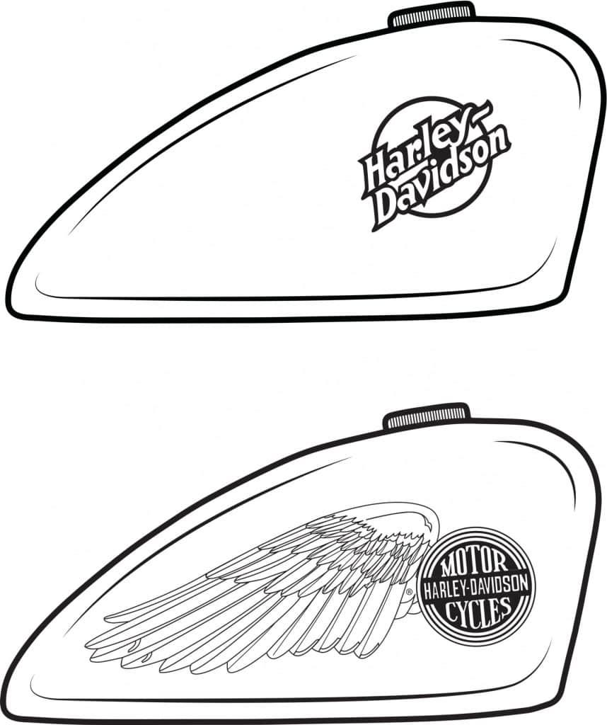 Harley-Davidson Tank zum Ausmalen