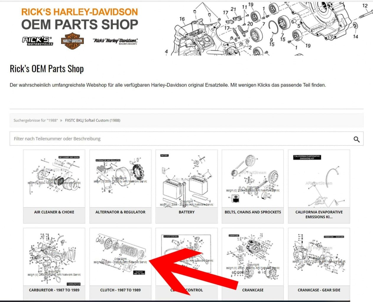 Die Rick´s Parts Shop Kategorie Übersicht