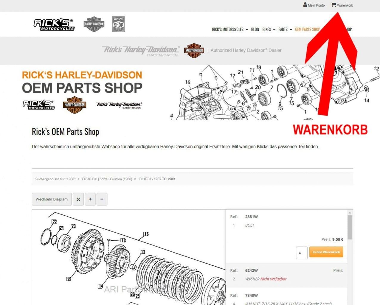 Ricks Parts Shop Warenkorb