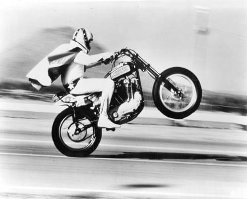 Evel Knievel auf der Harley-Davidson XR 750