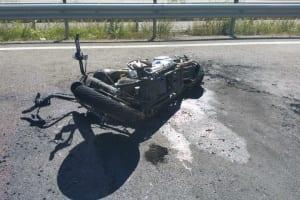 Ausgebranntes Motorrad