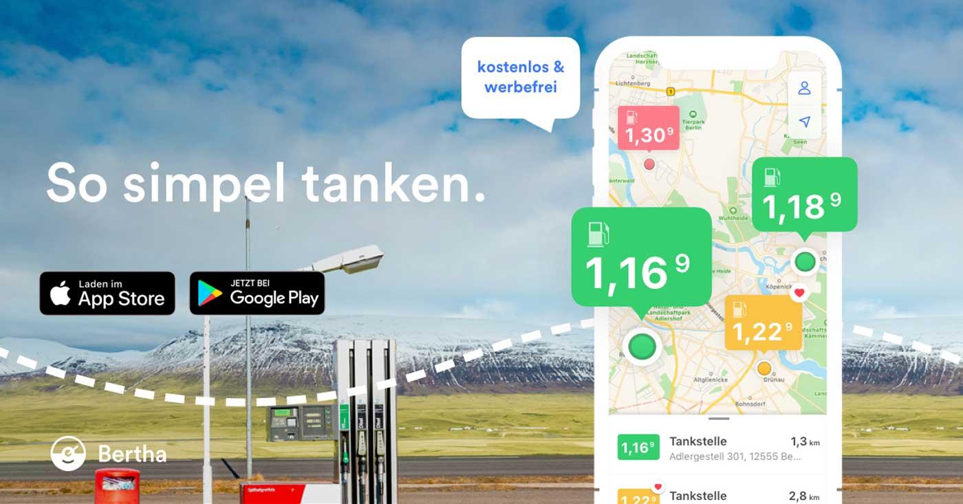 Tank-App Bertha der Mercedes-Benz AG in Deutschland und in Österreich verfügbar