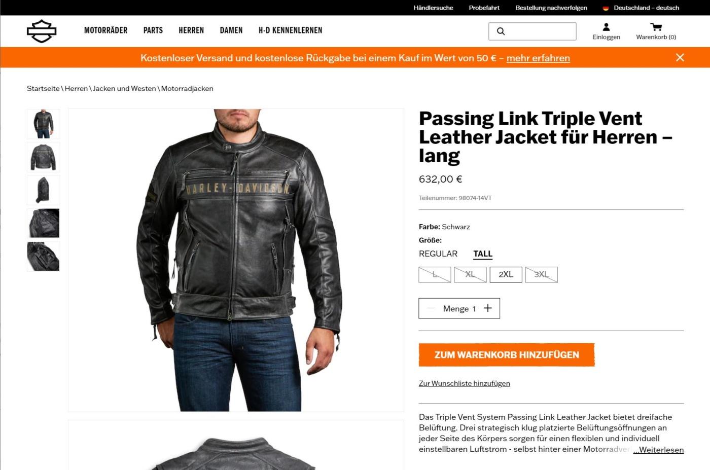 Harley-Davidson Online Shop Produkte
