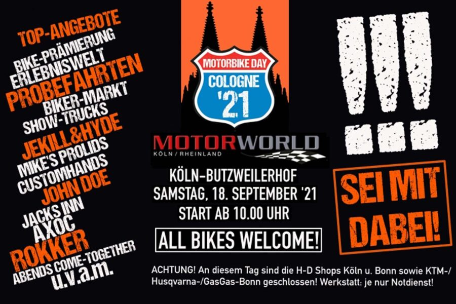 """Biker-Countdown läuft: Samstag ist """"Motorbike Day Cologne 2021""""!"""